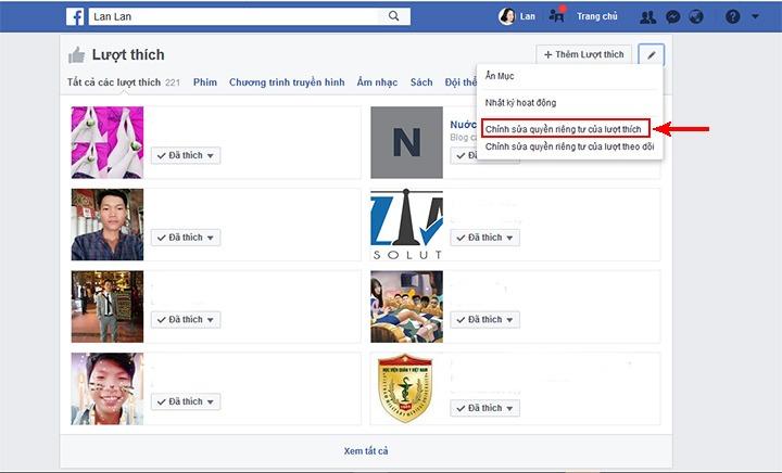 Ẩn like và comment không cho người khác thấy mình like trên facebook