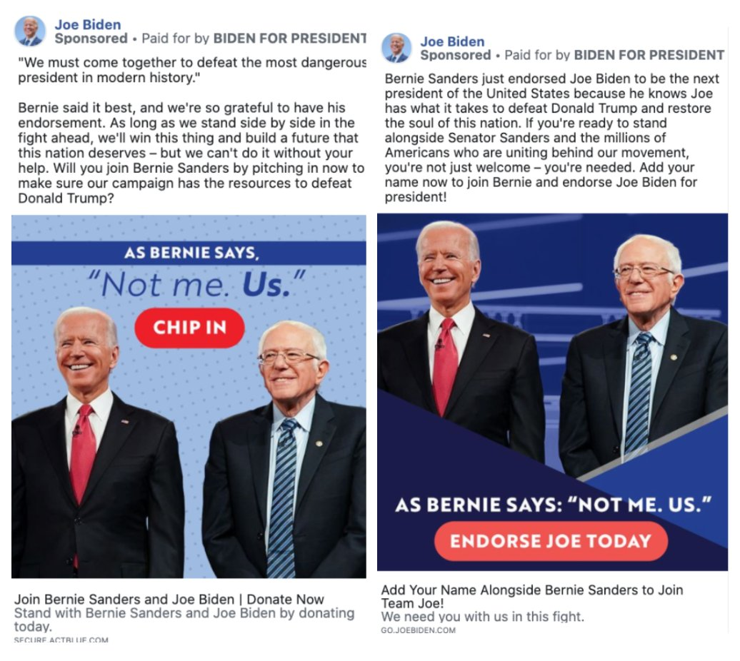 "ACRONYM على تويتر: ""Despite ""Joe-Biden-is-losing-the-internet"" stories, the Biden campaign had a banner week - with major endorsements from Democratic Party leaders pouring in. Within 24 hours, Biden began running fundraising ads on"